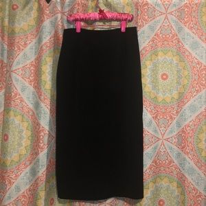 Long Black Pencil Skirt with calf slit, Size 4